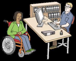Beratung einer Frau im Rollstuhl